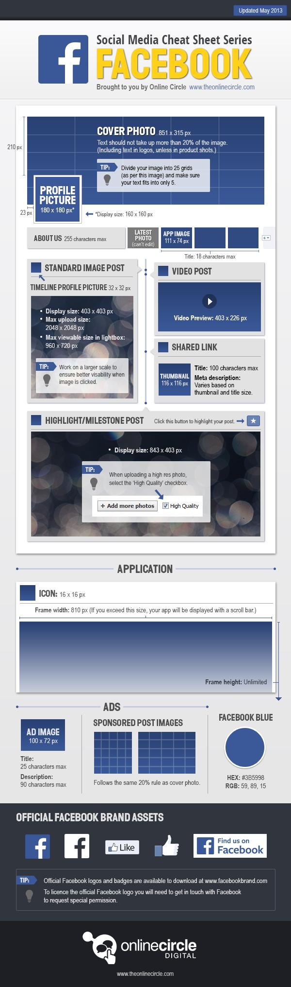 OnlineCircle.com Facebook Dimensions Cheat Sheet