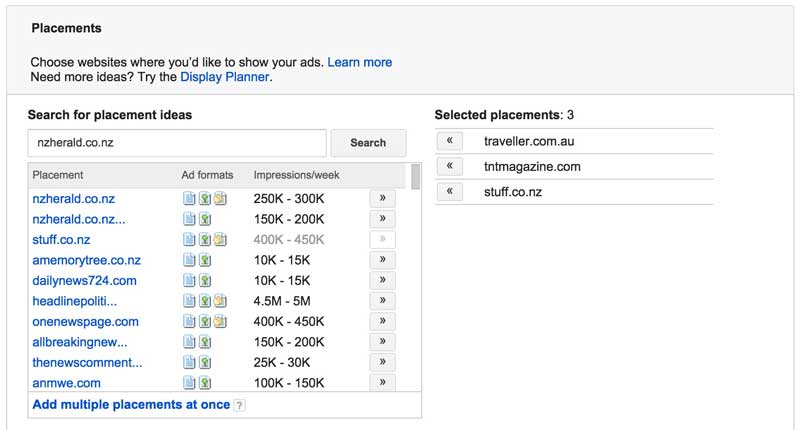 Google AdWords Placements For Tourism Marketing