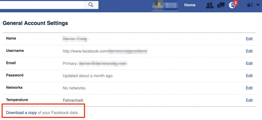 Download Your Facebook Data - Step 1