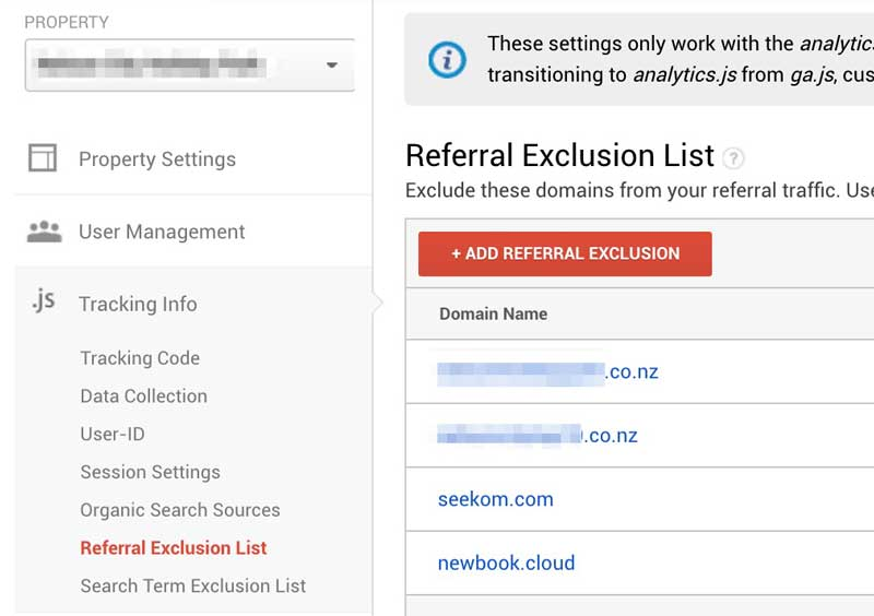 Google Analytics Cross Domain Referral Exclusions